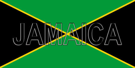 Illustration of the national flag of Jamaica with the country written on the flag. Stock Photo