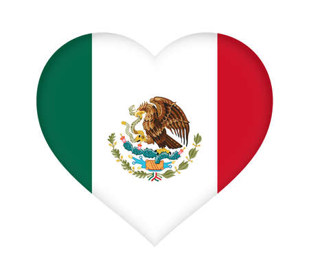 Illustration of the national flag of Mexico shaped like a heart.