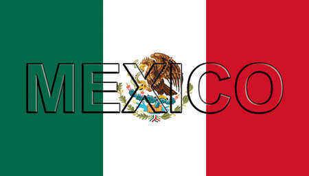 Illustration of the national flag of Mexico with the country written on the flag.