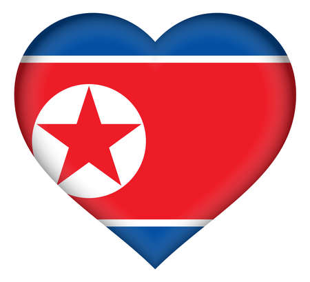 Illustration of the flag of North Korea shaped like a heart