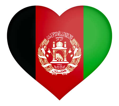 afghan: Illustration of the flag of Afghanistan shaped like a heart. Stock Photo