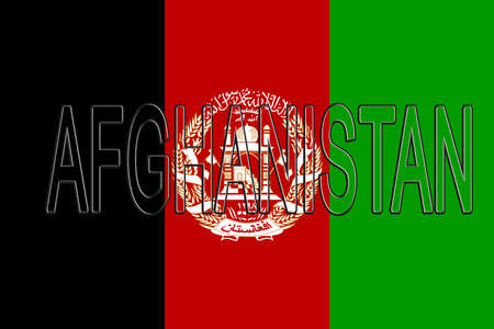 flag: Illustration of the flag of Afghanistan with the country written on the flag.