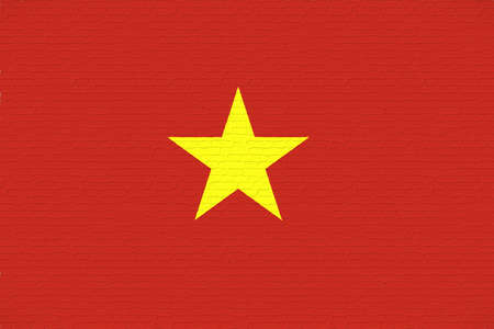 Illustration of the flag of Vietnam looking like it has been painted onto a wall. Stock Photo