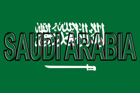Illustration of the flag of Saudi Arabia with the country written on the flag. Stock Photo