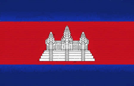 Illustration of the flag of Cambodia looking like it is painted onto a wall.