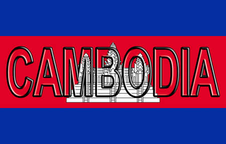 flag: Illustration of the flag of Cambodia with the country written on the flag.