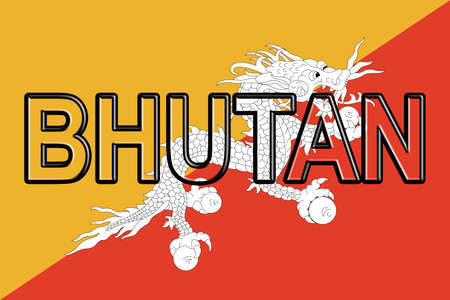 flag: Illustration of the flag of Bhutan with the country written on the flag. Stock Photo