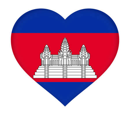 cambodian: Illustration of the flag of Cambodia  shaped like a heart.