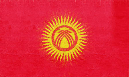 sovereignty: Illustration of the flag of Kyrgyzstan with a grunge look.