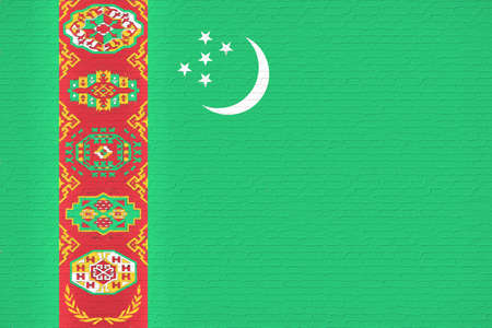 turkmenistan: Illustration of the flag of Turkmenistan looking like it is painted onto a wall. Stock Photo