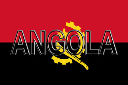 Illustration of the flag of Angola with the country written on the flag