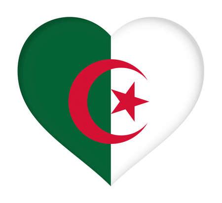algeria: Illustration of the flag of Algeria shaped like a heart.