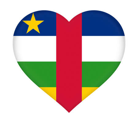 Illustration of the flag of Central African Republic shaped like a heart.