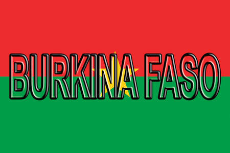 flag: Illustration of the flag of Burkina Faso with the country written on the flag. Stock Photo