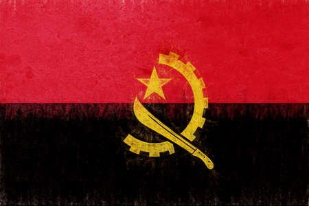 Illustration of the flag of  Angola with a grunge look.