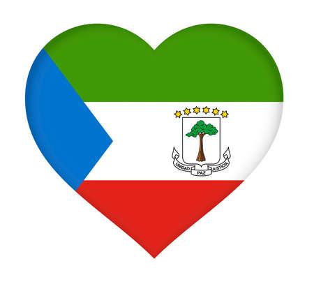 Illustration of the flag of Equatorial Guinea shaped like a heart.