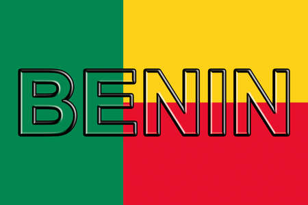flag: Illustration of the flag of Benin with the country written on the flag