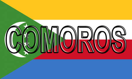 Illustration of the national flag of Comoros  with the country written on the flag. Stock Photo