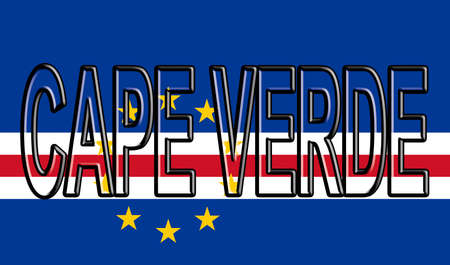 Illustration of the national flag of Cape Verde with the country written on the  flag. Stock Photo