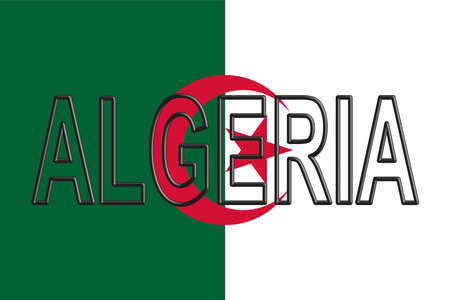 flag: Illustration of the flag of Algeria with the country written on the flag