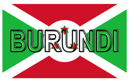 flag: Illustration of the flag of Burundi with the country written on the flag.