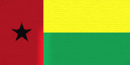Illustration of the national flag of Guinea Bissau looking like it is painted on a wall.