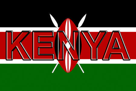 Illustration of the national flag of Kenya  with the country written on the flag.