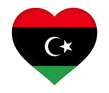 national identity: Illustration of the flag of Libya shaped like a heart.