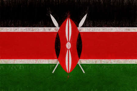 Illustration of the national flag of Kenya with a grunge look.