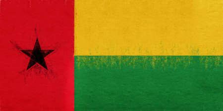 Illustration of the national flag of Guinea Bissau with a grunge look. Stock Photo