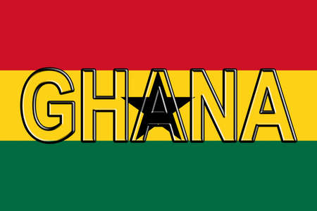 Illustration of the national flag of Ghana with the country written on the flag