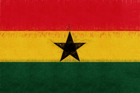 Illustration of the national flag of Ghana with a grunge look.
