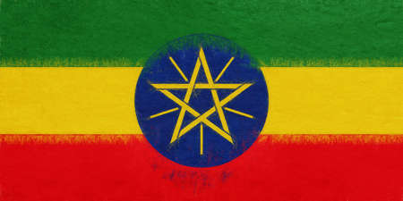 Illustration of the national flag of Ethiopia with a grunge look.