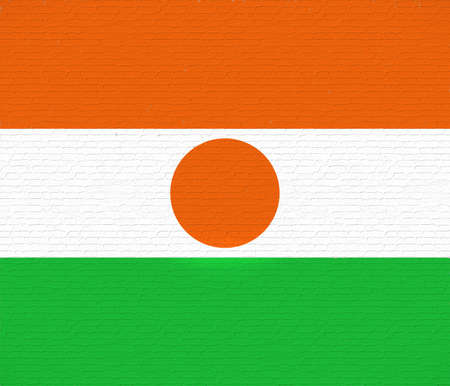Illustration of the national flag of Niger looking like it is painted on a wall.