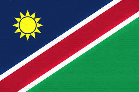 Illustration of the national flag of Namibia looking like it is painted on a wall.