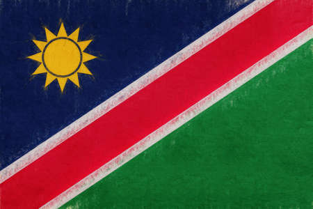 Illustration of the national flag of Namibia with a grunge look.