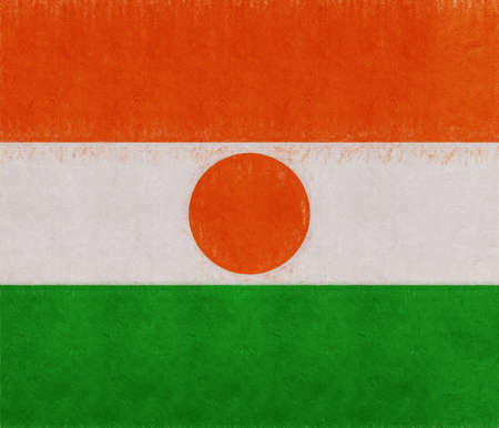 Illustration of the national flag of Niger with a grunge look. Stock Photo