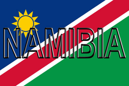 Illustration of the national flag of Namibia with the country written on the flag.