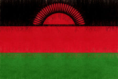 Illustration of the national flag of Malawi with a grunge look. Stock Photo