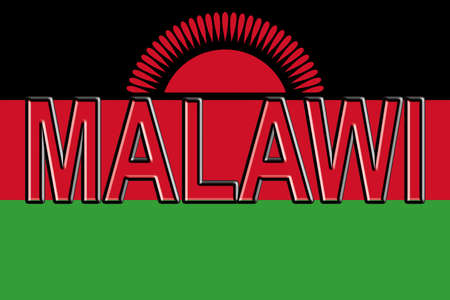 Illustration of the national flag of Malawi with the country written on the flag.
