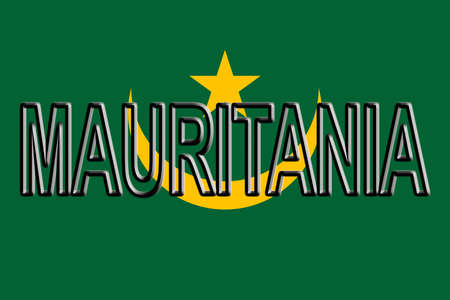 Illustration of the national flag of Mauritania with the country written on the flag. Stock Photo