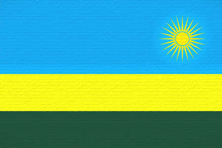 Illustration of the national flag of Rwanda looking like it is painted on a wall. Stock Photo