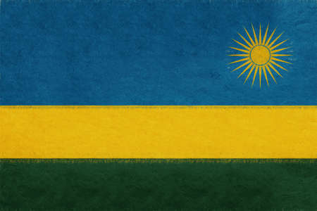 Illustration of the national flag of Rwanda with a grunge look.