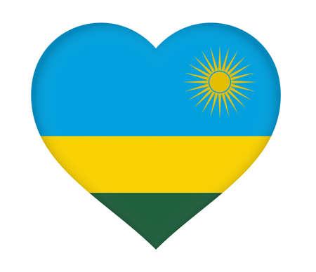 heart shaped: Illustration of the flag of Rwanda shaped like a heart.