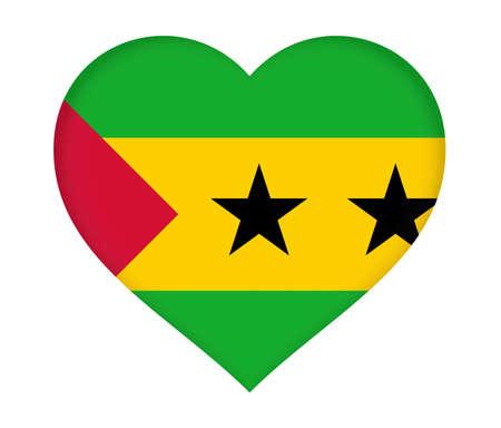 Illustration of the flag of Sao Tome and Principe shaped like a heart.