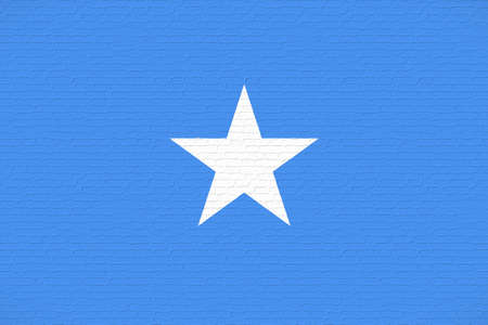 Illustration of the national flag of Somalia looking like it is painted on a wall. Stock Photo