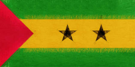 Illustration of the national flag of Sao Tome and Principe with a grunge look.