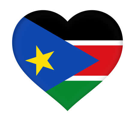 national identity: Illustration of the flag of South Sudan  shaped like a heart.