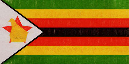Illustration of the national flag of Zimbabwe with a grunge look. Stock Photo
