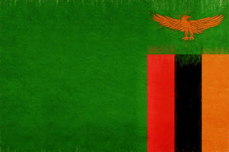 Illustration of the national flag of Zambia with a grunge look.